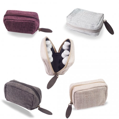 6 Bottle - Hemp Small Travel Essential Oil Carry Bag (4 Colors)