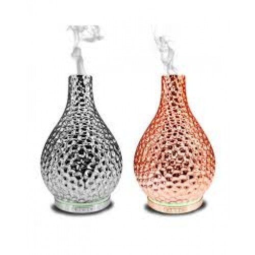 Cara - Chrome or Copper Porcelain Aromatherapy Diffuser - Silent with LED Lights