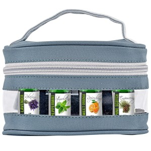 Essential Oil Aromatherapy Gift Set with Travel Carry Case 5ml of Lavender, Sweet Orange, Peppermint and Pine Scotch
