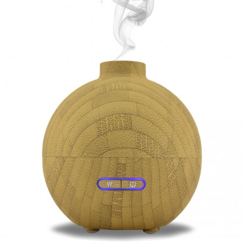 LEO Essential Oil Aromatherapy Ultrasonic Cool Mist Rubberized Bamboo Wood Diffuser Humidifier