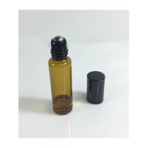 Amber Glass Roll-on Vials (5mL size) with Black Caps (12-pack)