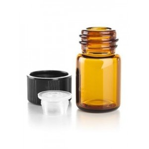 5/8 dram Amber Glass Vials with Orifice Reducers & Black Caps (144-pack)
