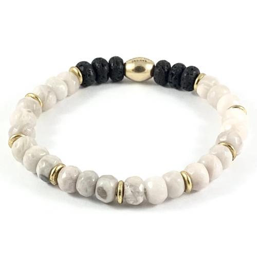 Faceted Rondelle Diffuser Stretch Bracelet - 8mm Cream Crazy Lace Agate