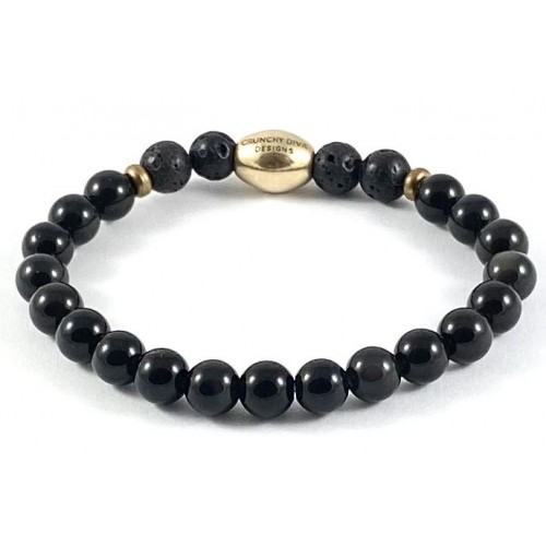 Kid's Semi-Precious Diffuser Stretch Bracelet - 6mm Black Onyx