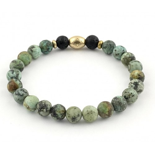 Men's Semi-Precious Diffuser Stretch Bracelet - 8mm African Turquoise