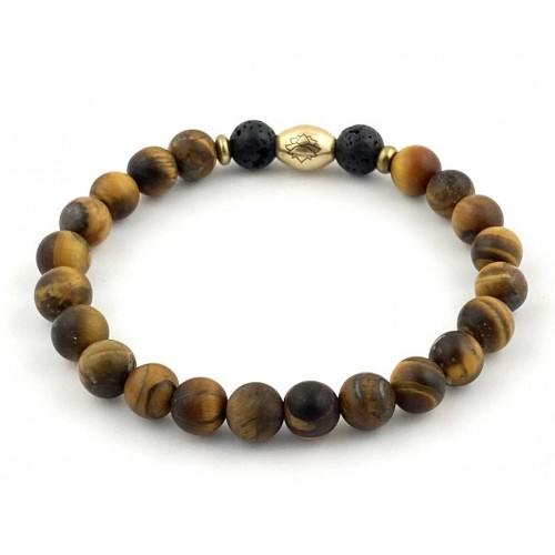 Men's Semi-Precious Diffuser Stretch Bracelet - 8mm Matte Tiger Eye