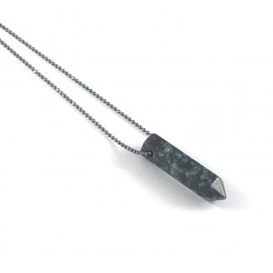 Point Diffuser Necklace - Small Botanical Moss Agate