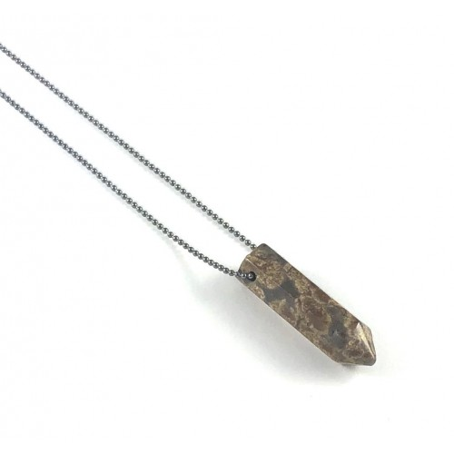 Point Diffuser Necklace - Small Brown Snowflake Obsidian